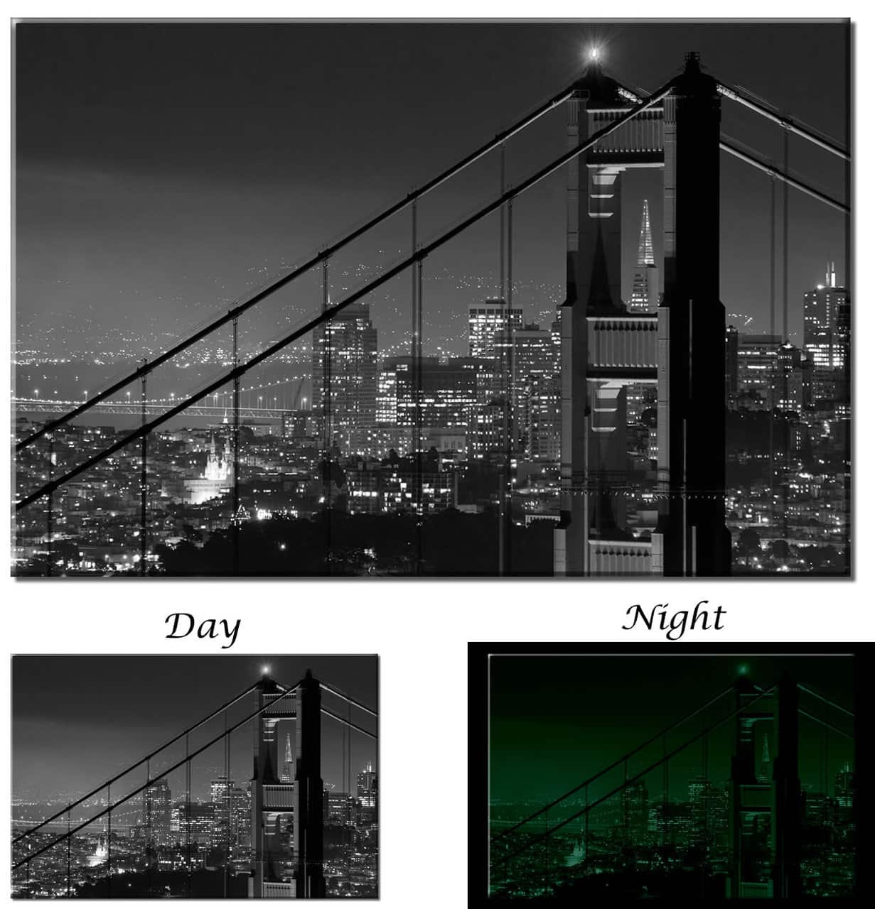 Glow In The Dark Golden Gate Bridge San Francisco Black And
