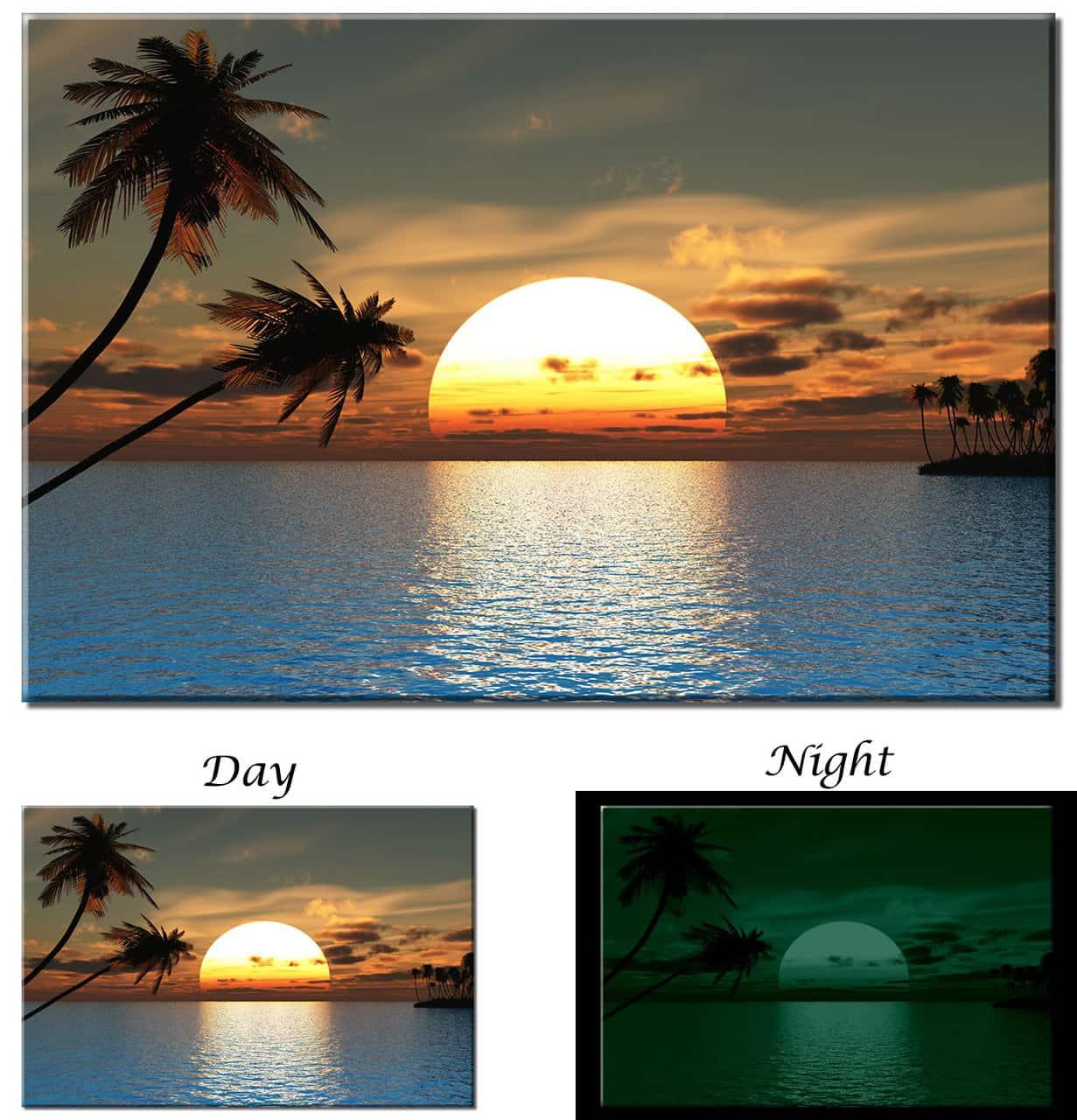 Glow In The Dark Tropical Sunset Ocean Palm Tree