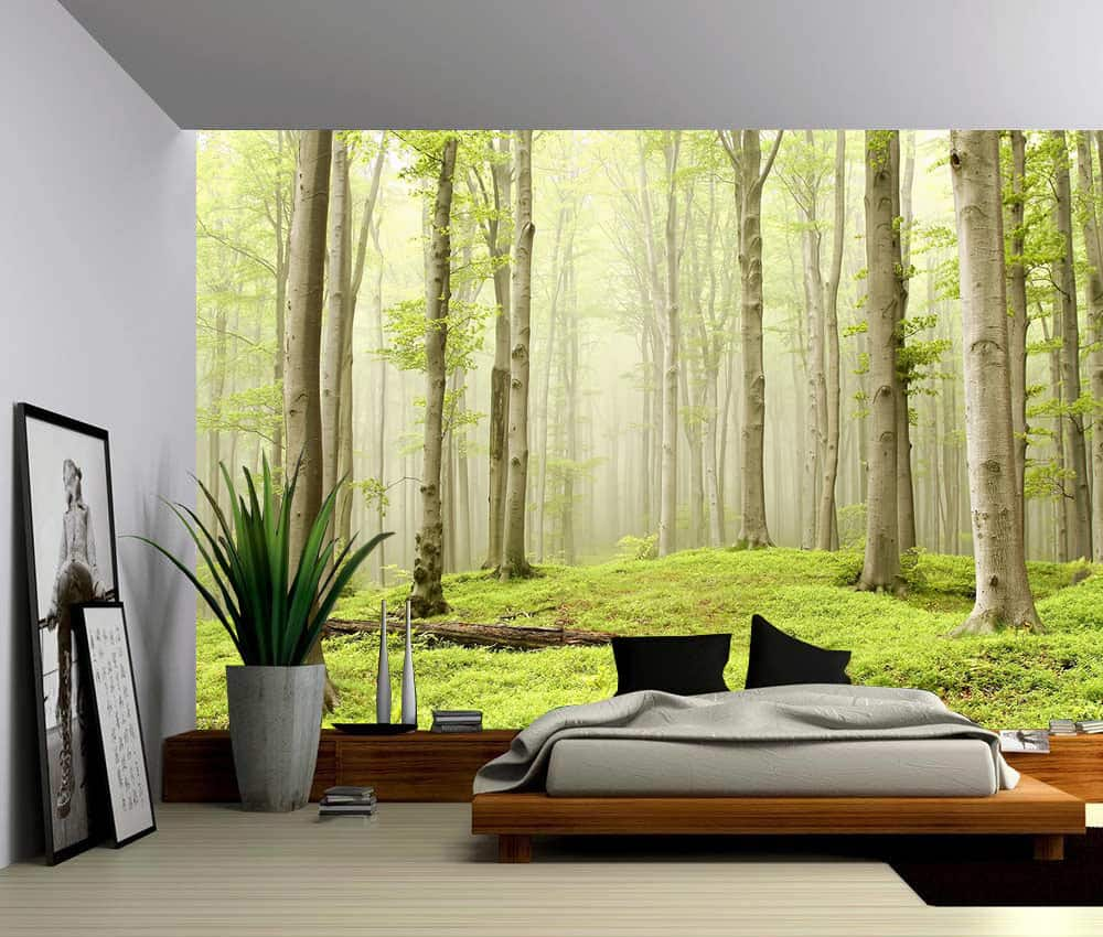 Landscape foggy spring forest self adhesive vinyl for Vinyl wallpaper for walls
