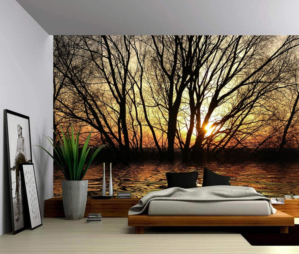 Landscape Sun Trees Autumn Forest Lake Self Adhesive