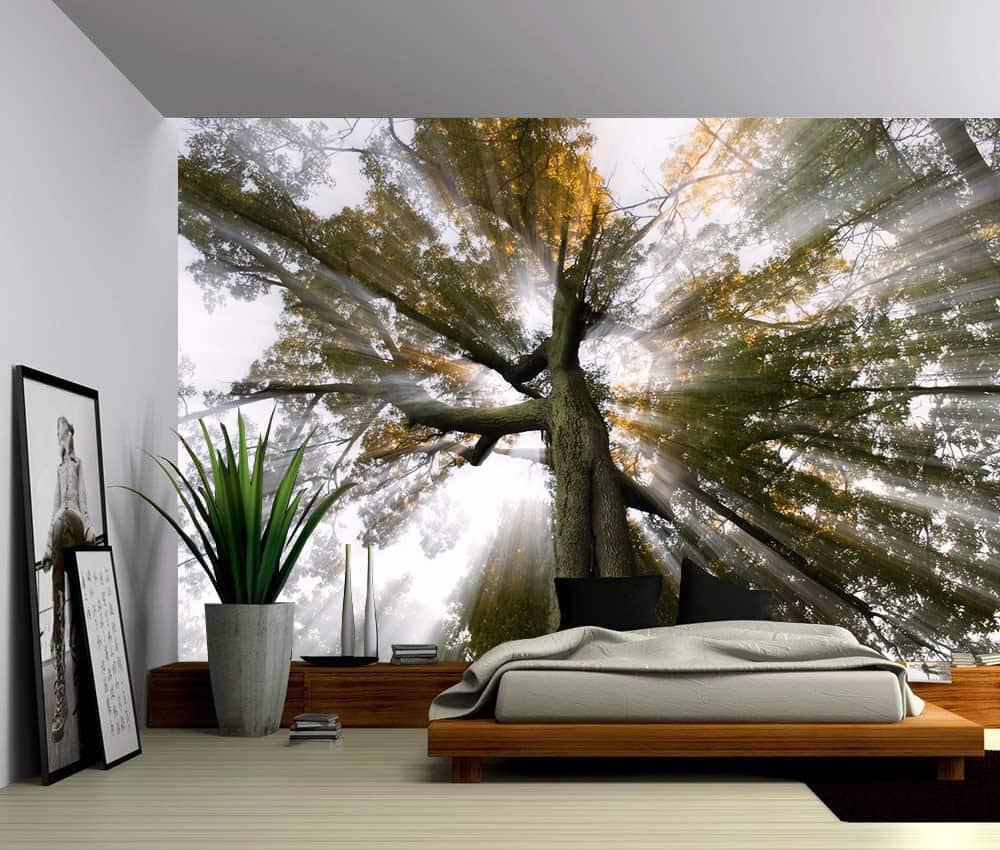 Landscape Sun Tree Rays Of Light Self Adhesive Vinyl