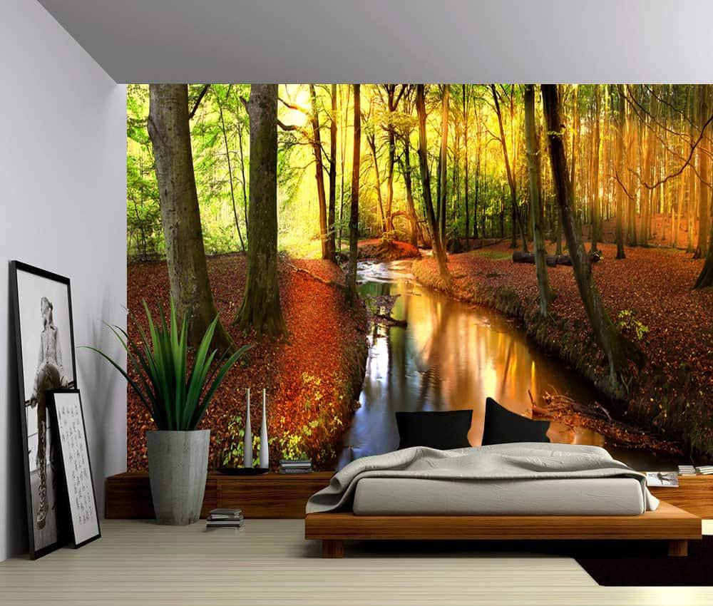 Landscape Autumn Forest Creek Self Adhesive Vinyl