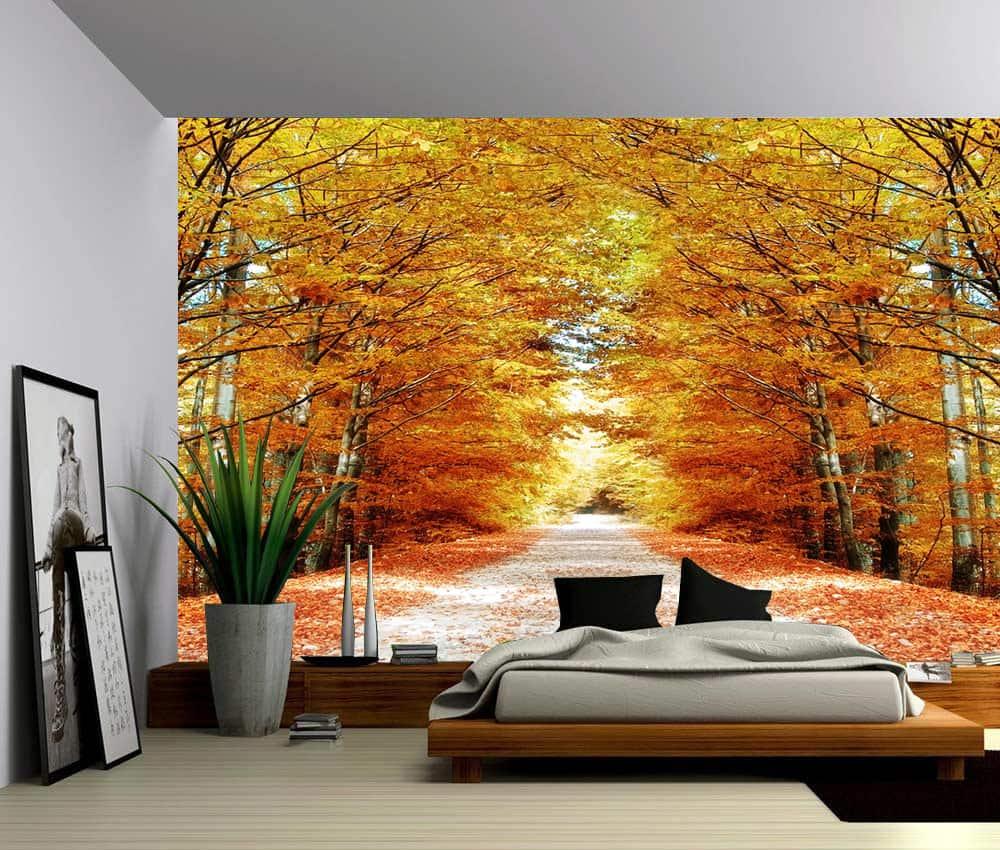 Landscape Autumn Maple Tree Road Self Adhesive Vinyl