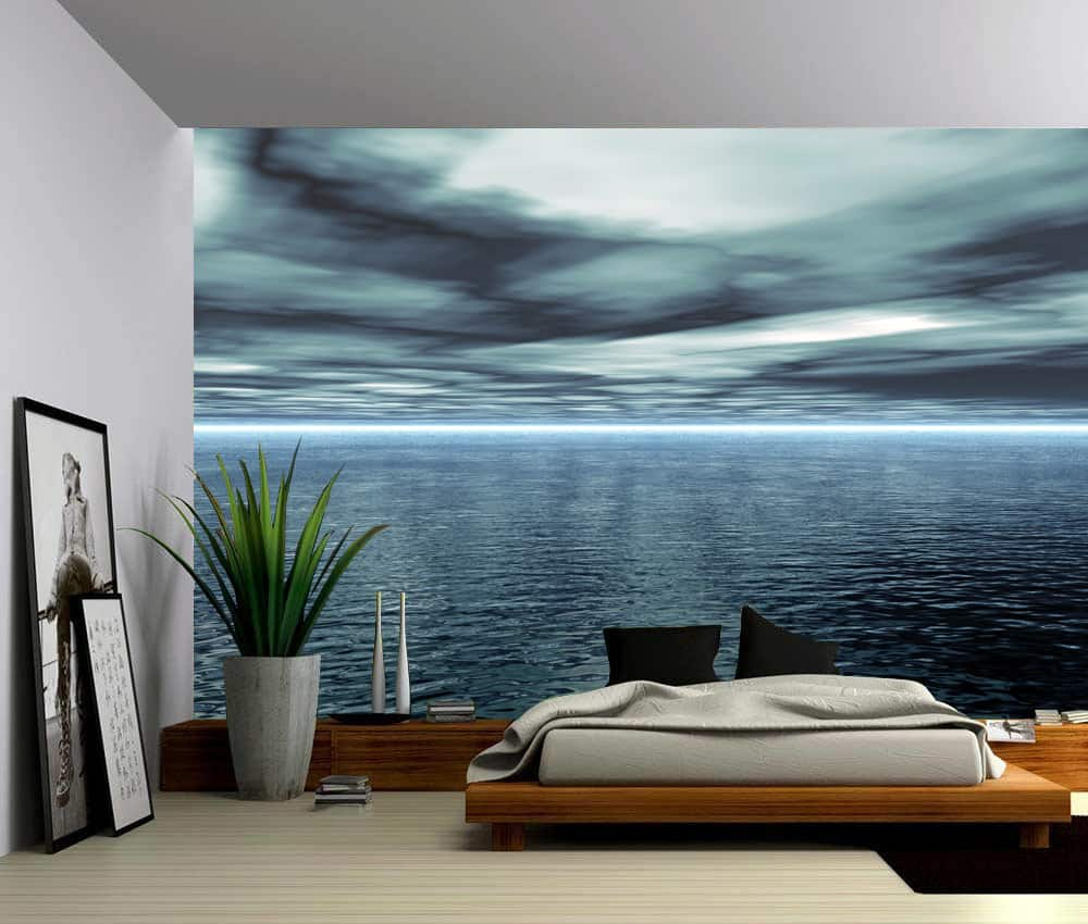 Wall Murals Product : Seascape blue ocean horizon self adhesive vinyl wallpaper