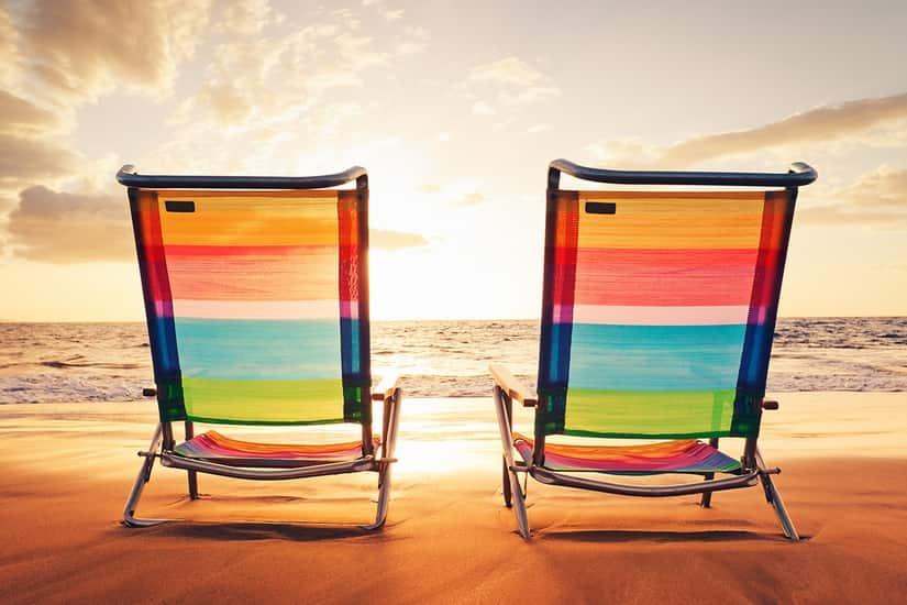 Seascape Beach Chairs At Sunset Self Adhesive Vinyl