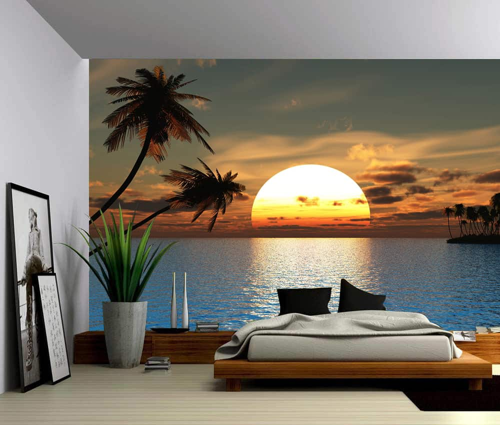 Wall Murals Product : Seascape tropical sunset ocean palm tree self adhesive