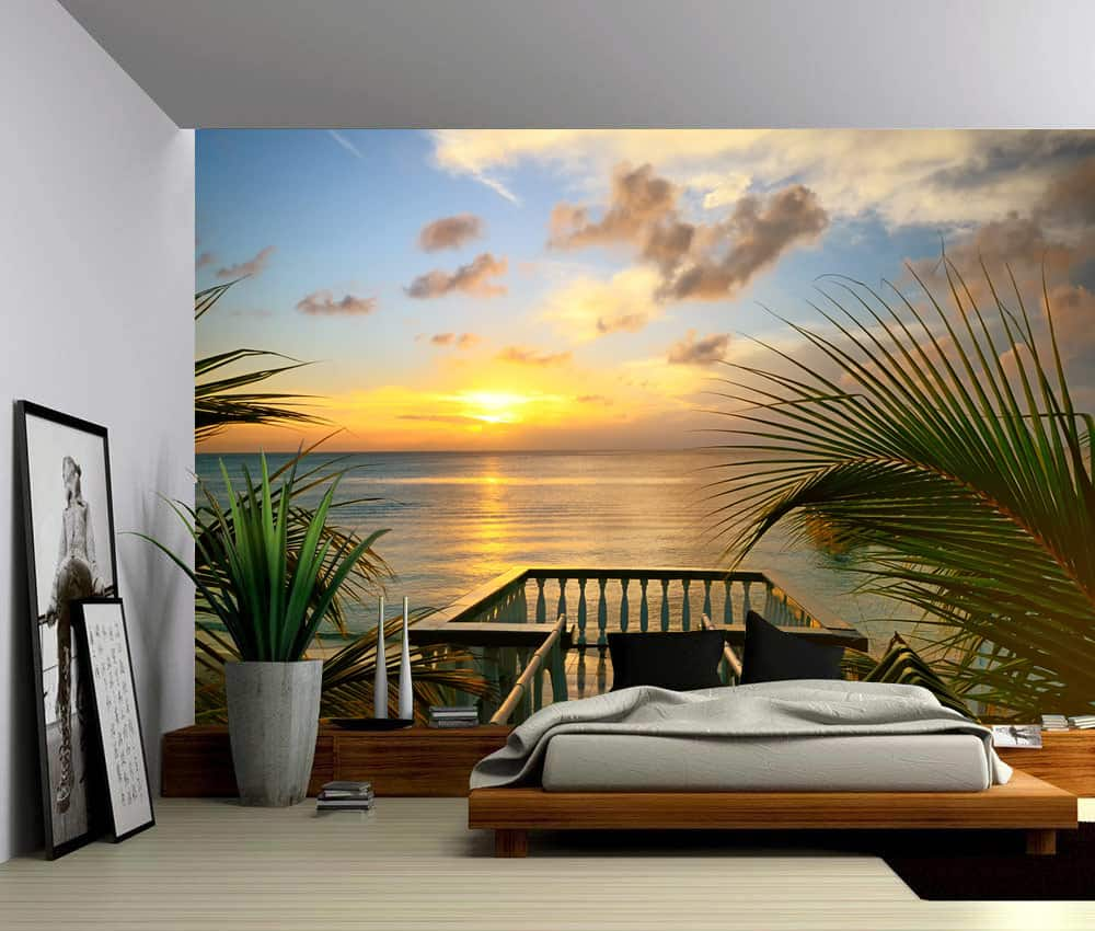 Wall Murals Product : Seascape summer deck sunset ocean beach self adhesive