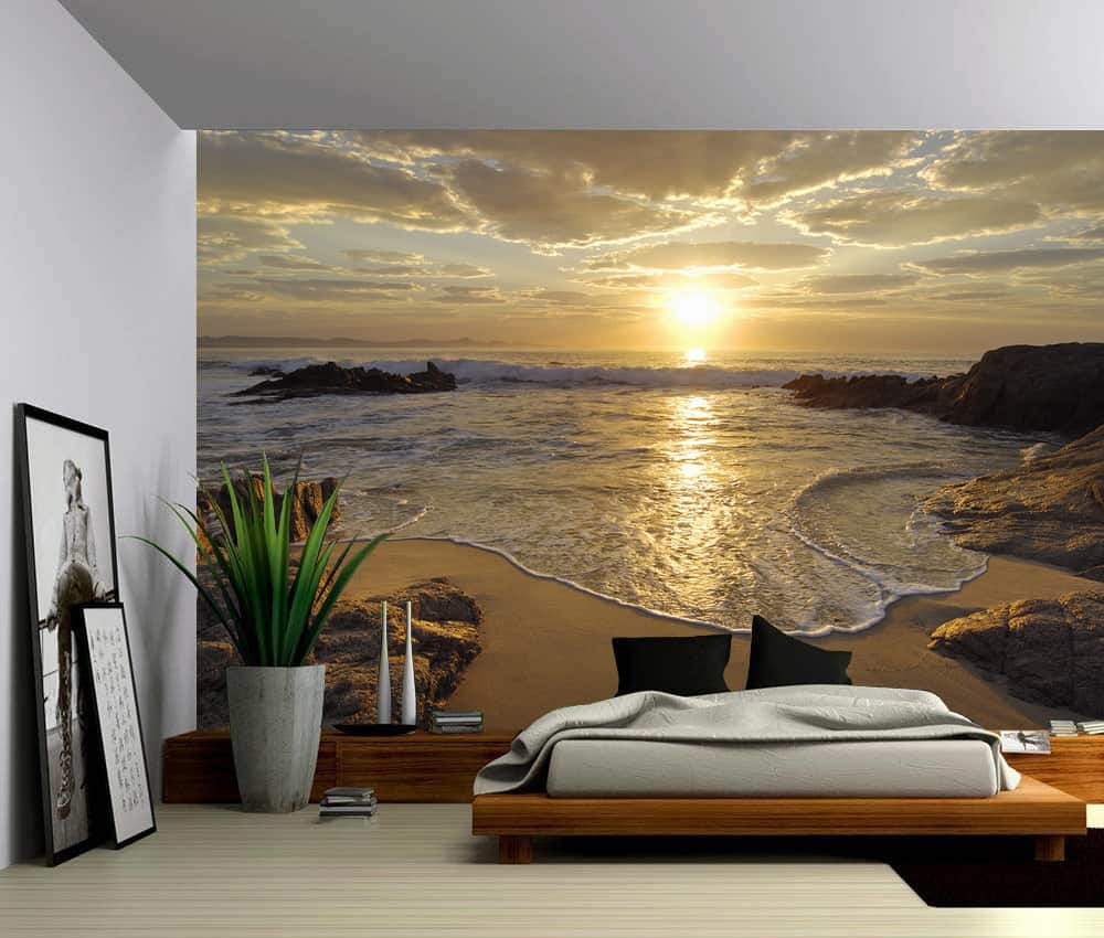 Seascape sunrise sea ocean wave sunset beach self for Big wallpaper for wall