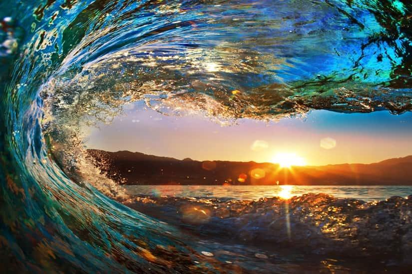 Rolling Wave Ocean Sunset Seascape Self Adhesive Vinyl Wallpaper