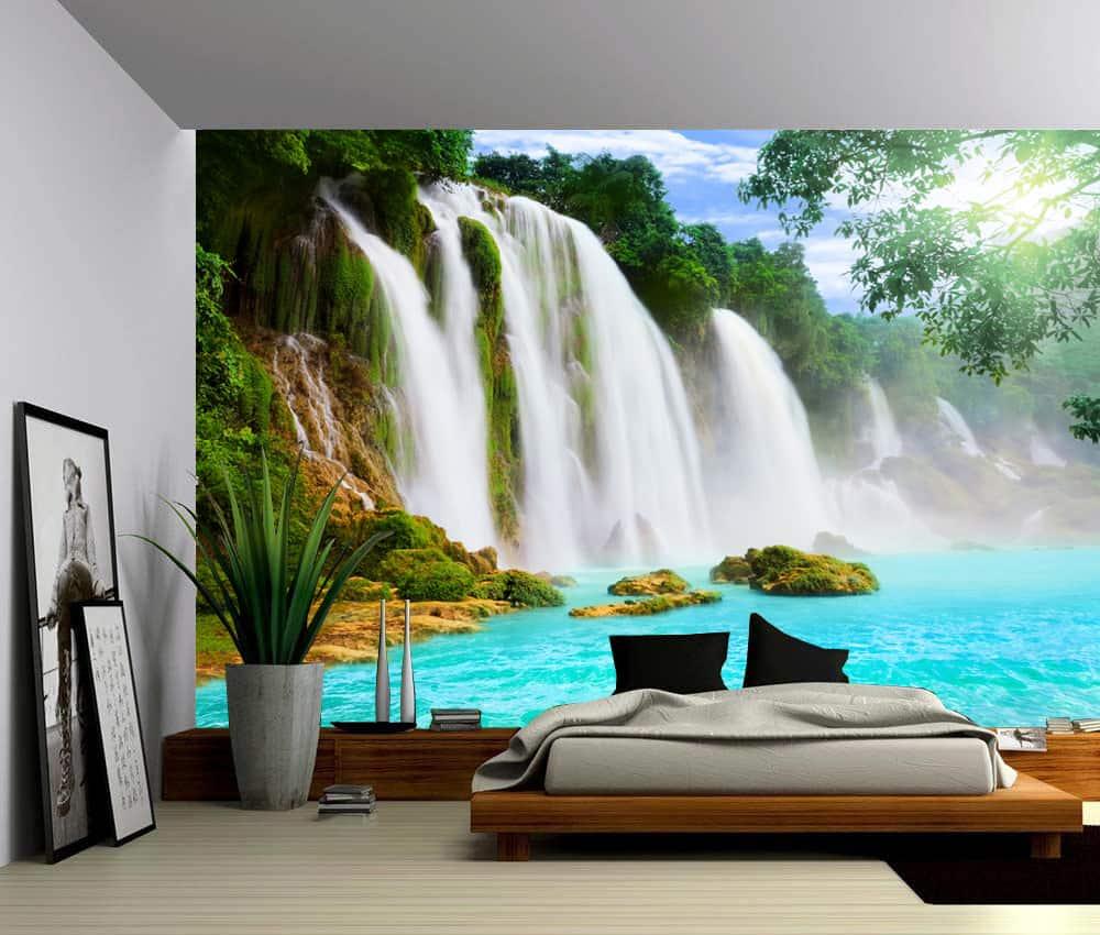 Landscape mountain cliff waterfall self adhesive vinyl for Self adhesive vinyl wallpaper