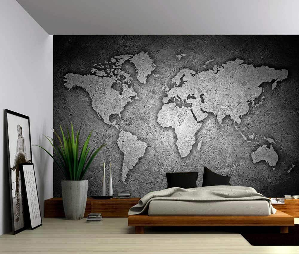 Wall Murals Product : Black and white stone texture world map self adhesive