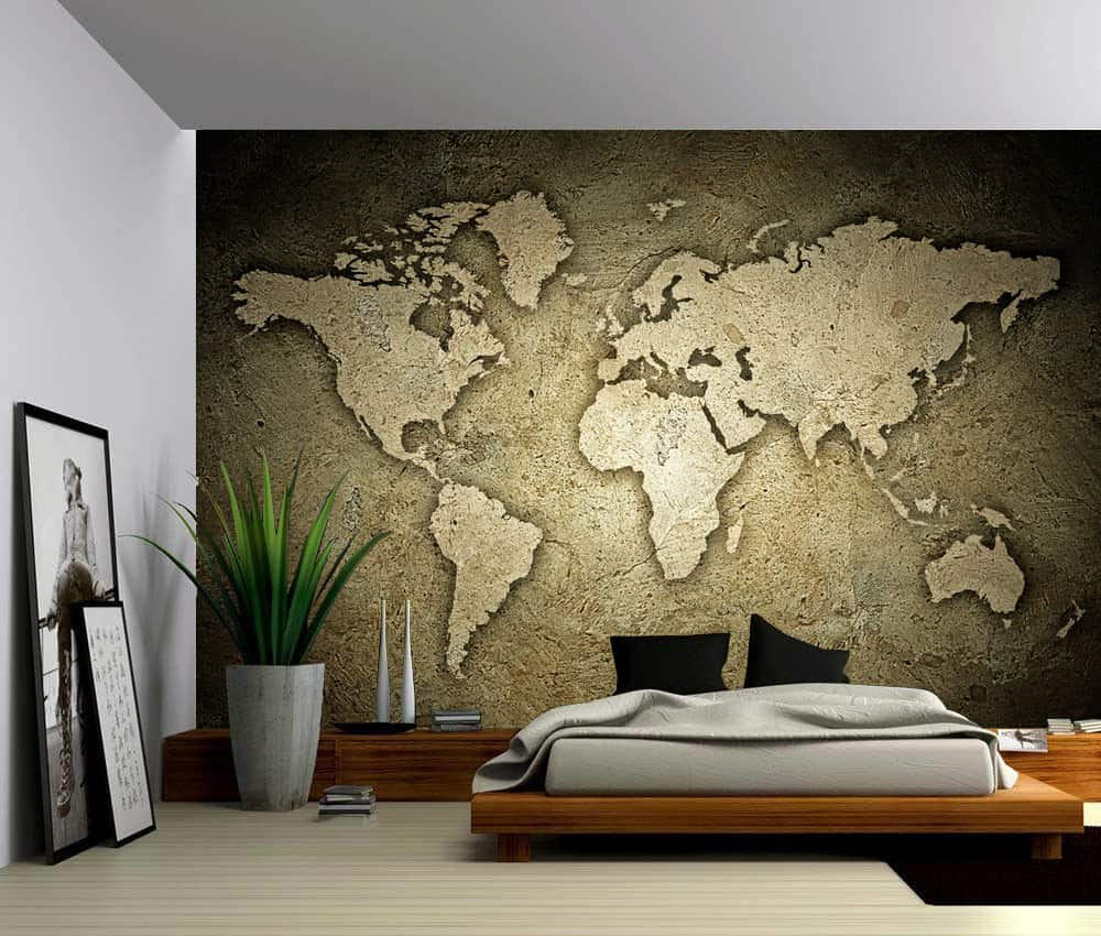 Sepia stone texture world map self adhesive vinyl wallpaper peel sepia stone texture world map gumiabroncs Image collections