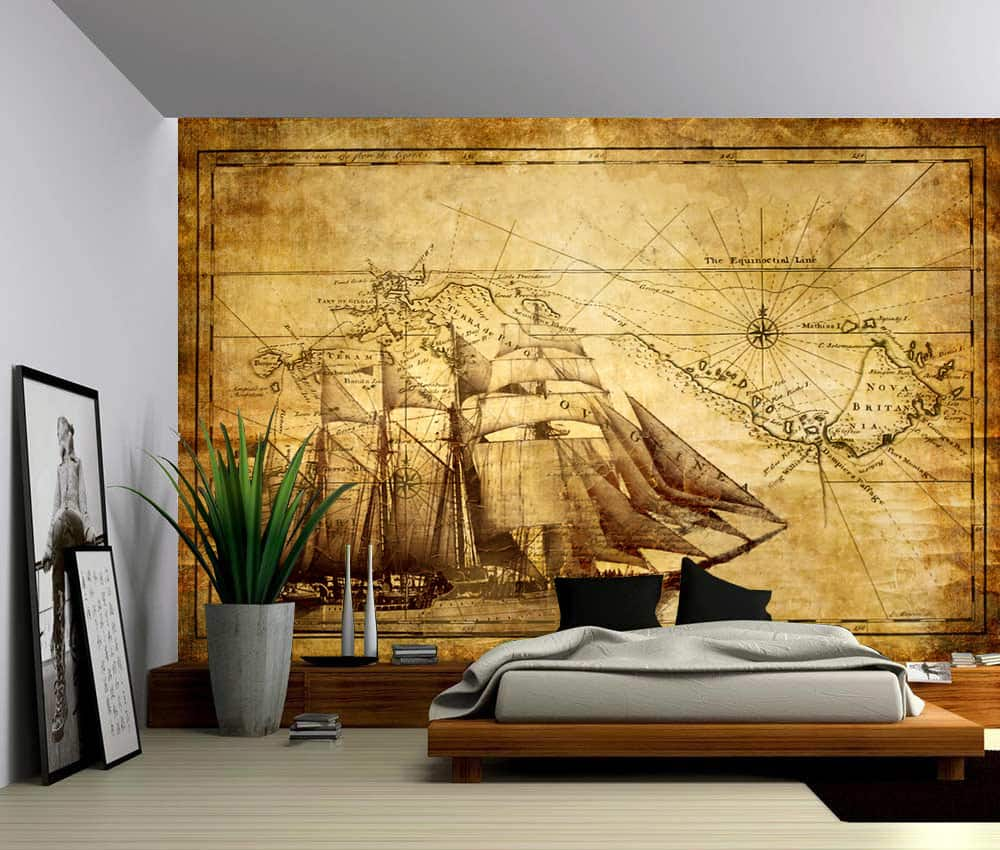 Vintage Sailing Map Self Adhesive Vinyl Wallpaper Peel