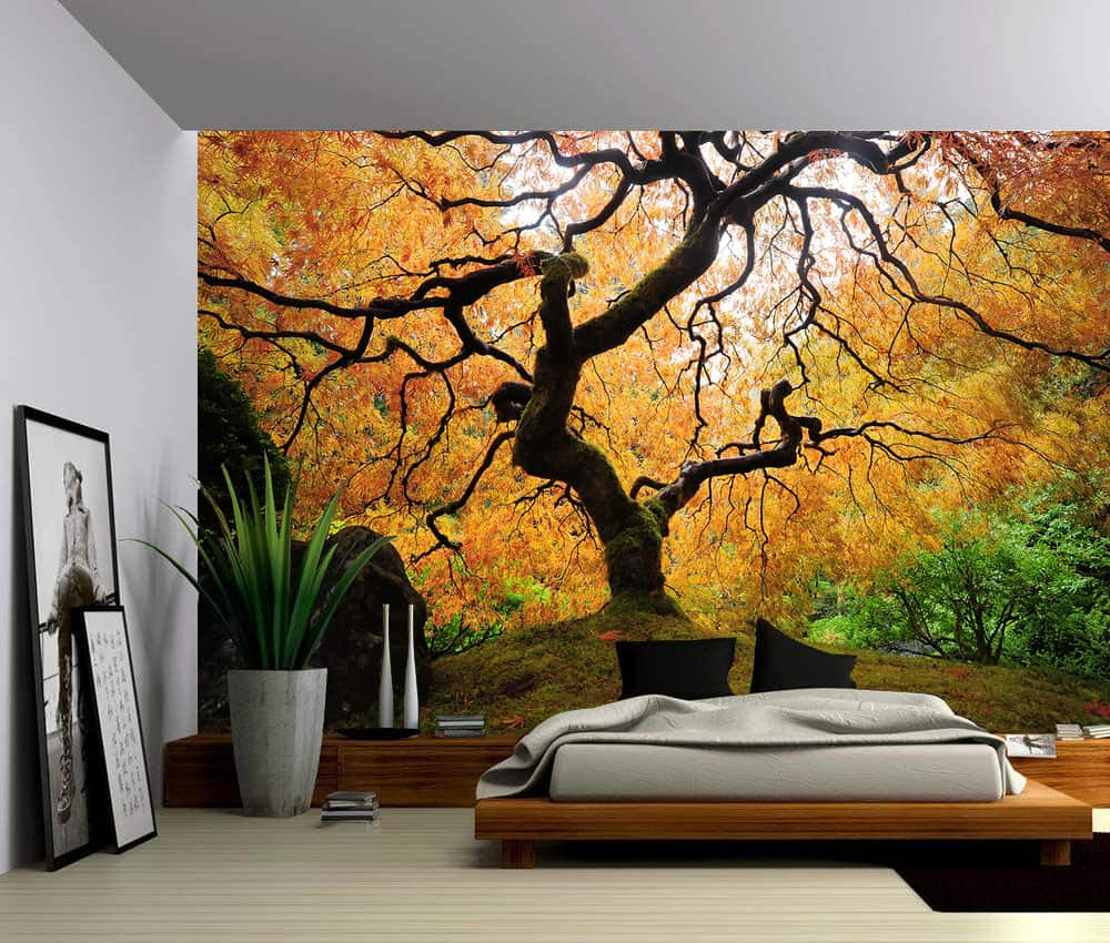 Bmaple Tree Japanese Garden Self Adhesive Vinyl Wallpaper