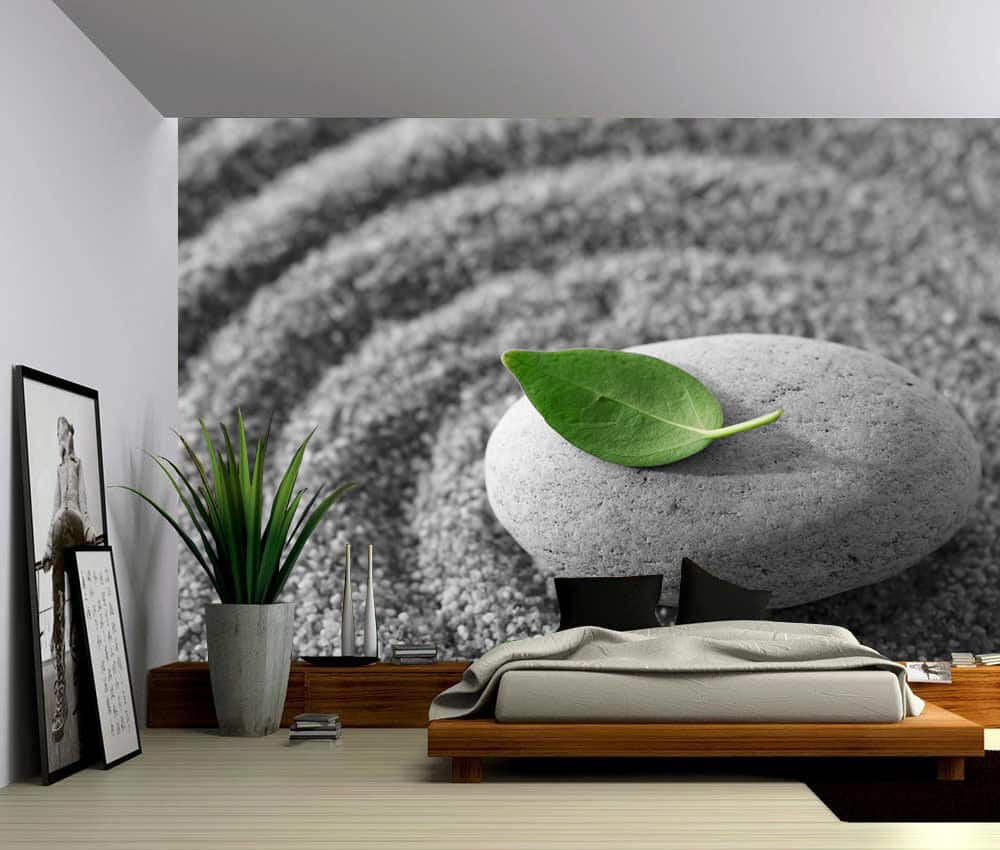 Zen Stone Green Leaf Self Adhesive Vinyl Wallpaper Peel