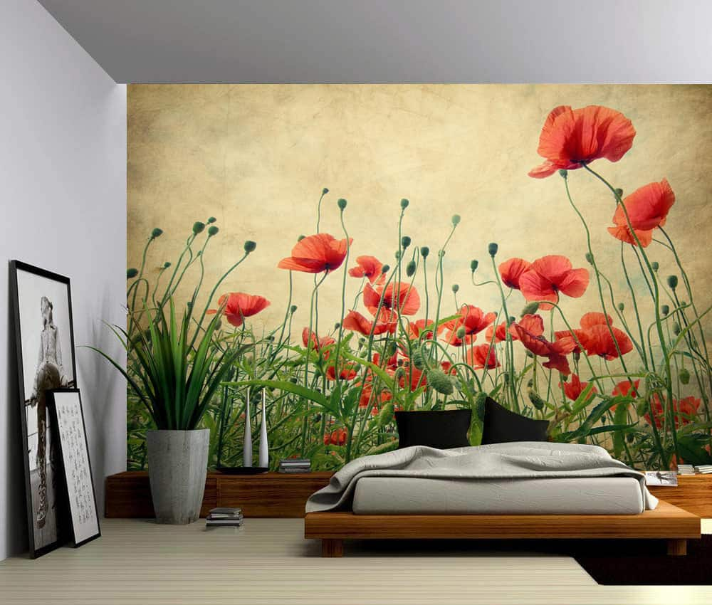 Wall Murals Product : Red poppies flower self adhesive vinyl wallpaper peel