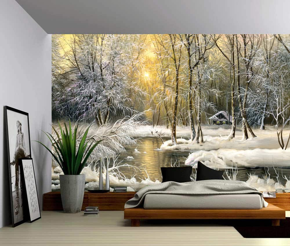 Snow river forest creek winter landscape self adhesive for Self adhesive vinyl wallpaper