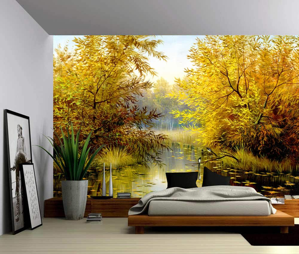 Tree River Bank Autumn Landscape, Self-adhesive Vinyl Wallpaper ...