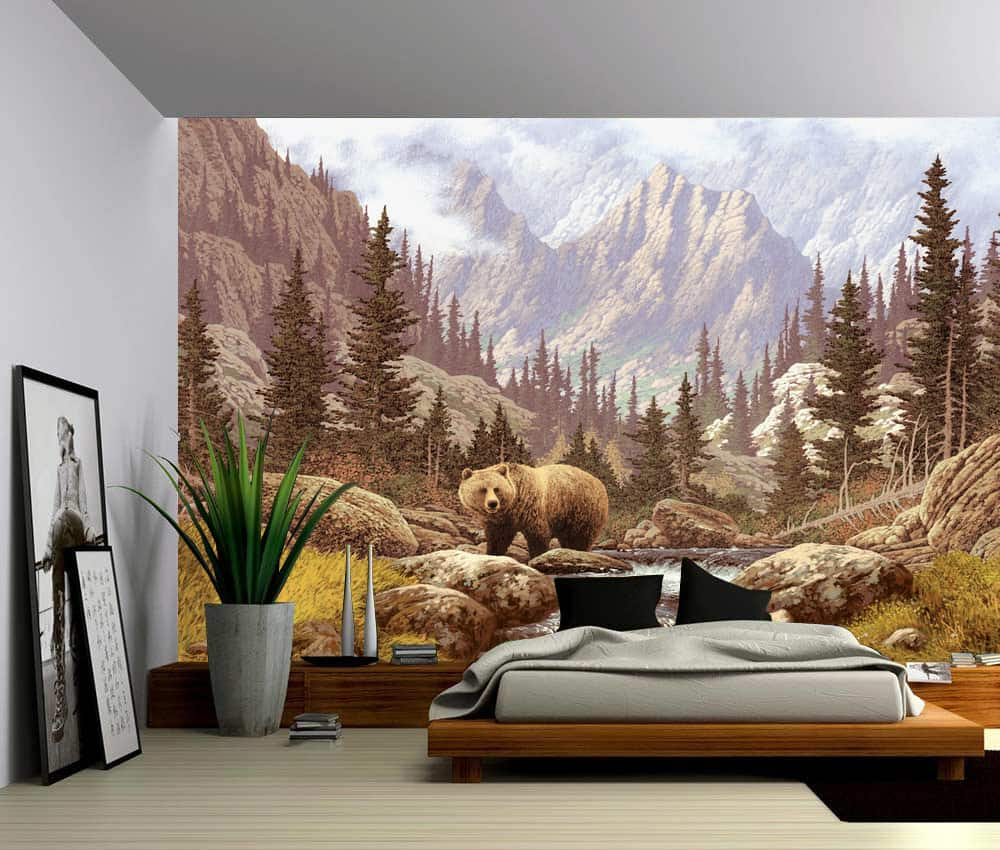 Grizzly Bear Mountain Stream Self Adhesive Vinyl