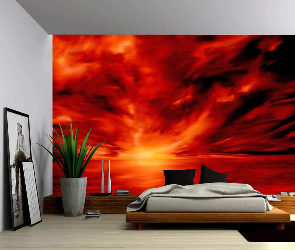 Wall Murals Product : Warmth red abstract self adhesive vinyl wallpaper peel