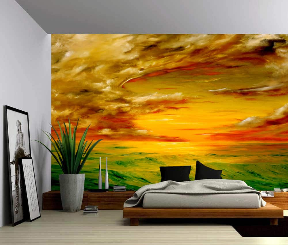 Sunset ocean wave coast self adhesive vinyl wallpaper for Vinyl peel and stick wallpaper