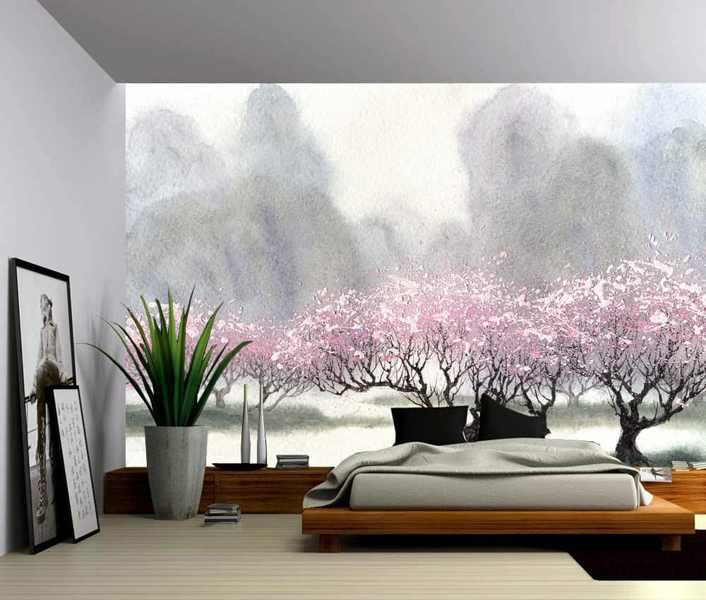 Watercolor mountain cherry trees self adhesive vinyl - Best peel and stick wallpaper ...